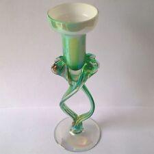 Green Vintage Original Glass Candle Holder