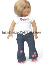 Flower Embroider Jeans & Top + Belt 18 in Doll Clothes Fits American Girl