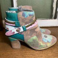 L Artiste Spring Step Size 36 US 6 Gaviva Ankle Boot Heel Bootie Zip Floral