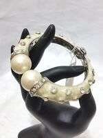 Crystal Rhinestone Cuff Style Bangle Bracelet Evening Off White