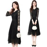 Women Slim Fit Lace Splicing Dress V-Neck Long Sleeve OL Korean Fashion M-4XL L