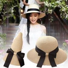 Women Ladies Retro Summer Straw Hats Wide Brim Floppy Foldable Sun Beach Hat Cap