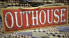 "Rustic Worn Look Outhouse Sign Red Primitive Style Wall Decor Plaque 15""x5"""