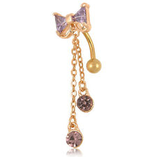 Belly Bars NEW Gold Crystal Bow Dangle Drop Navel Body Bar Reverse Piercing Gift