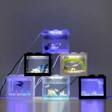 USB Mini Aquarium Fish Tank with LED Lamp Light Home Office Desktop Decoration