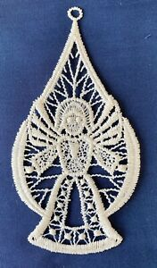 Christmas Decoration/Ornament - cream lace bauble and angel