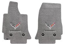 Lloyd Mats C7 Corvette Flags & Stingray Word Greystone Floor Mats (2014-2019)