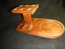 Vintage wood Pipe stand holder for 6 with Humidor cutout space