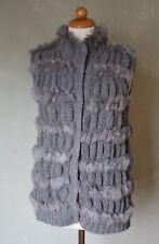 Luisa Cerano Weste Pelzweste Strick grau weich Fell grau edel Gr. 40 L / 42 XL *