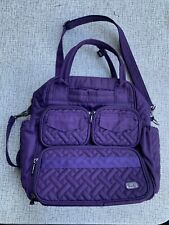 Lug Mini Puddle Jumper Purple Quilted Overnight Travel Gym Everyday Bag