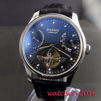 43mm PARNIS Black Dial Deployment SS ST 2505 Automatic Power Reserve men's Watch