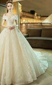Ball Gown Wedding Dress Court Train Cap Sleeve V Neck Sequin Lace Sequin Organza