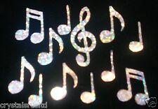 MUSIC NOTES SILVER HOLO iron-on transfer applique bead