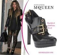 Alexander McQueen Buckle Buckled Leather Platform Ankle Bootie Boots Black 39