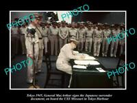 OLD LARGE HISTORIC PHOTO, MacARTHUR SIGNING JAPANESE SURRENDER TOKYO BAY 1945
