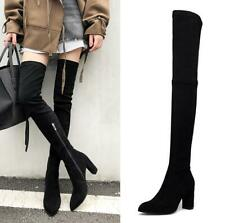 Womens Suede Fabric 8cm Block Heel Over Knee High Thigh Long Leg Riding Boots US