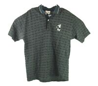 Walt Disney World Mens Black Checkered Mickey Mouse Polo Collared Golf Shirt Lg
