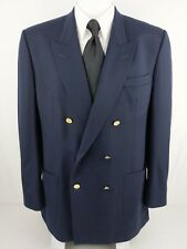 BURBERRYS 44L Navy Blue Double Breasted Gold Button Side Vents Lined Wool Blazer