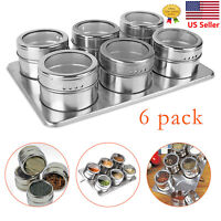 6Pcs Kitchen Stainless Steel Magnetic Spice Jars + Stainless Trestle Rack New US