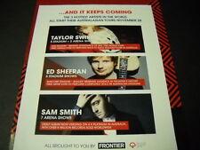 TAYLOR SWIFT Ed Sheeran SAM SMITH 3 Hottest Stars In World PROMO POSTER AD mint
