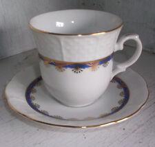 T K Thun Czechoslovakia Blue & Gold Small Tea Cup & Saucer