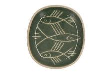 A Briglin pottery dish Incised fish