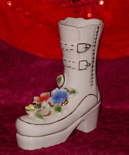 Vintage Shoe Boot * White Gold Trim * Three Flowers On Shoe * 7 Inches Tall*