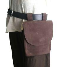 Medieval-Larp-SCA-Re Enactor-Archer-MERCHANT RICH DARK BROWN LEATHER Belt Bag