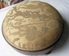 "Antique tapestry footstool / footrest round wooden veneered 3 feet 11"" x 5"""