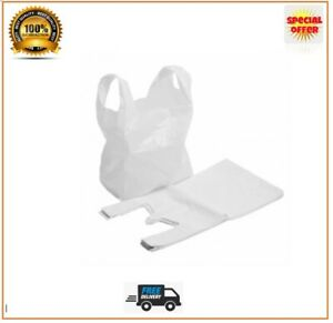 Plastic Vest Carrier Bags White Strong Bags Shops Stalls Supermarkets All Sizes