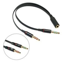3.5mm Y Splitter 2 Jack Male to 1 Female Headphone Mic Audio Adapter Cable UK