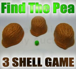 FIND THE PEA 3 SHELL GAME HALF WALNUT STREET CON A SCAM CLOSE UP MAGIC TRICK NEW