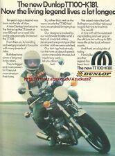 Dunlop TT100-K181 Tyres Motorcycle 1980 Magazine Advert #1040