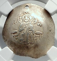 MANUEL I Ancient Byzantine ELECTRUM Trachy Coin JESUS CHRIST MARY NGC i80640