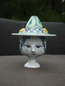 Bjorn Wiinblad Head Cup with Hat Lid VII 1972 Signed Mint Condition