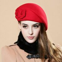 Wool Ladies Pillbox Cap Felt Women Beanie Beret French Winter Warm Soft Hat