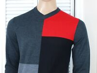 Armani Exchange Authentic Classic Wool Colorblock V Neck Sweater NWT