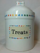 Dog Treat Canister by Pet*rageous Designs Hand-Painted Stoneware Treats Seals