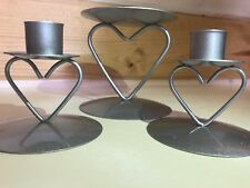 New 3 Piece Brushed Silver Heart Base Wedding Ceremony Unity Candle