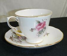 QUEEN ANNE BONE CHINA VIOLET, YELLOW & PINK ROSES CUP & SAUCER ENGLAND