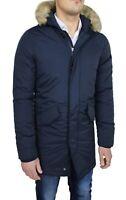 Giubbotto Parka uomo invernale casual trench blu giacca piumino con pelliccia