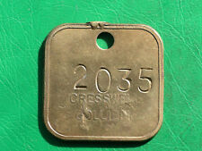 Cresswell colliery brass embossed pit check miners coal mining token lamp tally