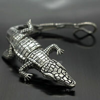 "Men's Heavy Silver Stainless Steel Crocodile Alligator Cuff Bracelet Bangle 7.3"""