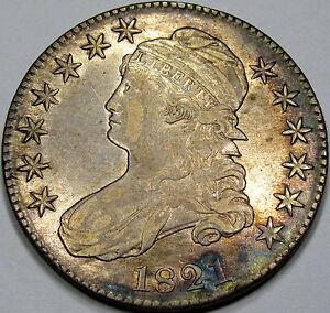 1821 O-104 Capped Bust Half Dollar Abt. AU... Nice Rim Toning, & A Neat Variety!