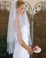 Bridal veil white or ivory 2 tier crystal drop edge