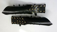 Gothic Leather Armor Gauntlets-Larp Cosplay Sca Black