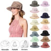 Women's UPF50 Foldable Packable Summer Sun Beach Straw Hat Cap