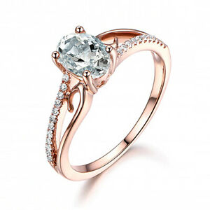 Rose Gold Cubic Zirconia Oval Promise Statement Ring Gift Womens Present