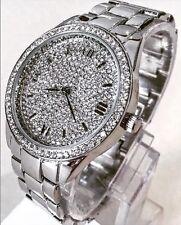 Ladies Wrist Watch Silver Classic Metal  Strap Bling Diamanté Designer Smart New