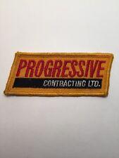 "Vtg Progressive Contracting Ltd Embroidered Patch Richmond BC Canada Badge 3.5"""